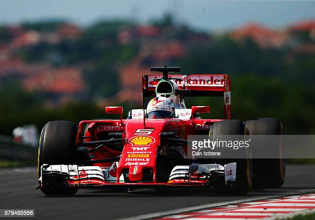 Sebastian Vettel of Germany driving the Scuderia Ferrari SF16H Ferrari 059/5 turbo on track during the Formula One Grand Prix of Hungary at...