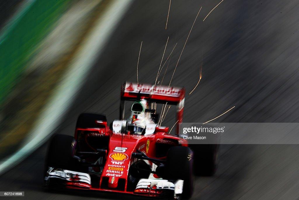 Sebastian Vettel of Germany driving the (5) Scuderia Ferrari SF16-H Ferrari 059/5 turbo (Shell GP) on track during final practice for the Formula One Grand Prix of Singapore at Marina Bay Street Circuit on September 17, 2016 in Singapore.