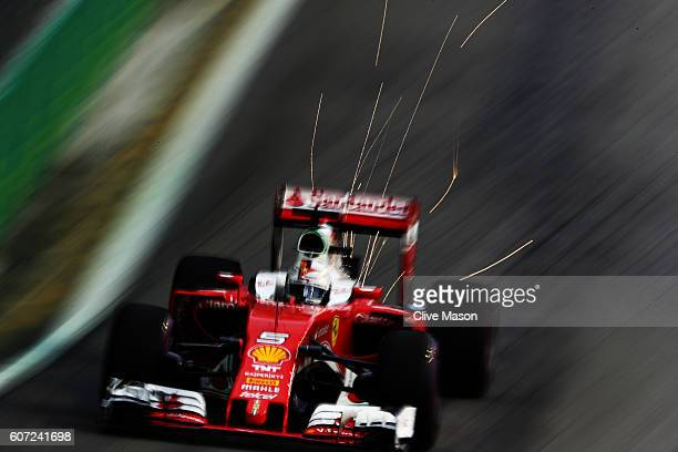 Sebastian Vettel of Germany driving the Scuderia Ferrari SF16H Ferrari 059/5 turbo on track during final practice for the Formula One Grand Prix of...