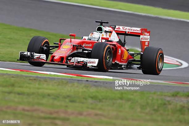 Sebastian Vettel of Germany driving the Scuderia Ferrari SF16H Ferrari 059/5 turbo on track during the Formula One Grand Prix of Japan at Suzuka...