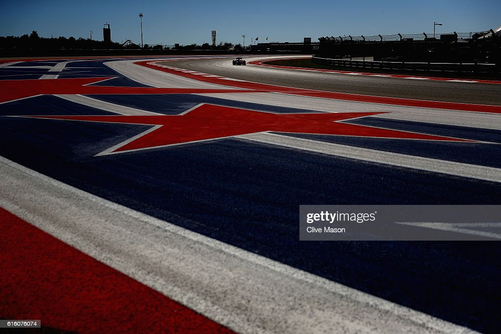 Sebastian Vettel of Germany driving the (5) Scuderia Ferrari SF16-H Ferrari 059/5 turbo (Shell GP) on track during practice for the United States Formula One Grand Prix at Circuit of The Americas on October 21, 2016 in Austin, United States.