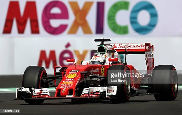 Sebastian Vettel of Germany driving the Scuderia Ferrari SF16H Ferrari 059/5 turbo on track during practice for the Formula One Grand Prix of Mexico...