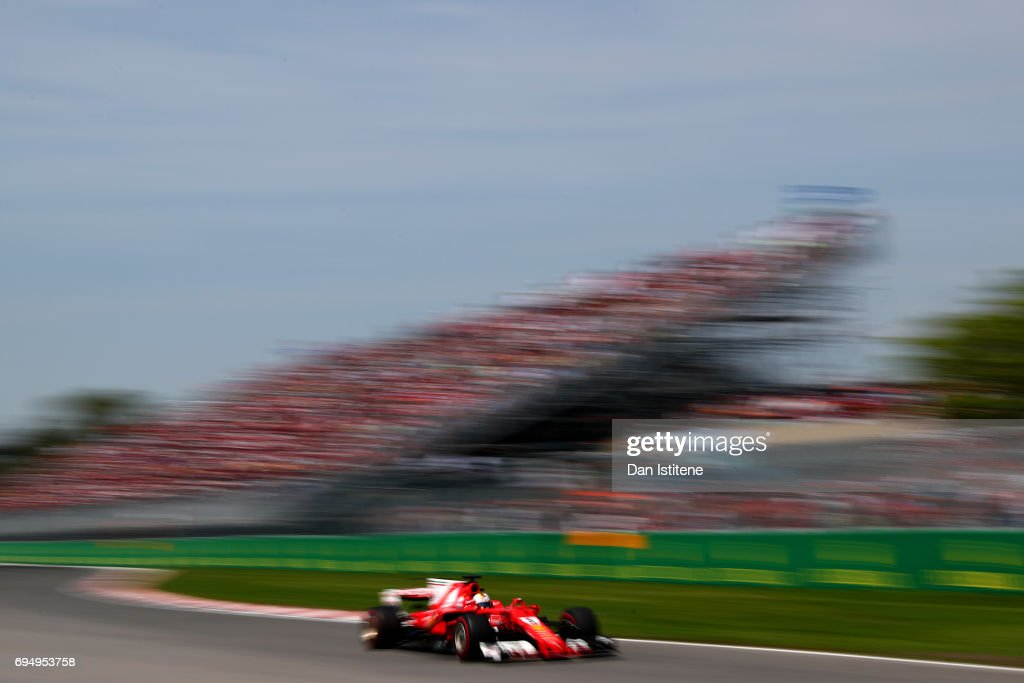 Sebastian Vettel of Germany driving the (5) Scuderia Ferrari SF70H during the Canadian Formula One Grand Prix at Circuit Gilles Villeneuve on June 11, 2017 in Montreal, Canada.
