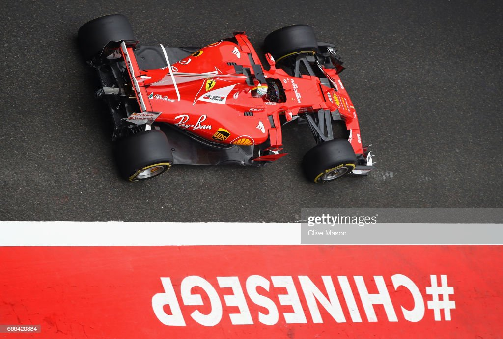 Sebastian Vettel of Germany driving the (5) Scuderia Ferrari SF70H in the Pitlane during the Formula One Grand Prix of China at Shanghai International Circuit on April 9, 2017 in Shanghai, China.