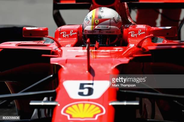 Sebastian Vettel of Germany driving the Scuderia Ferrari SF70H in the Pitlane during practice for the European Formula One Grand Prix at Baku City...