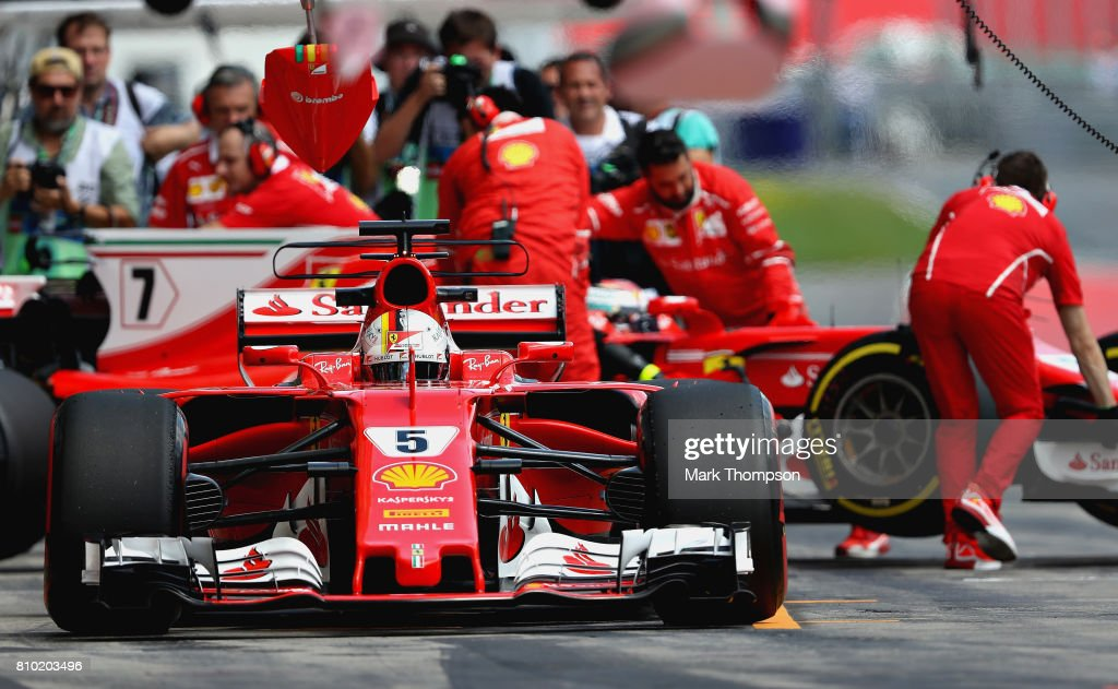 Sebastian Vettel of Germany driving the (5) Scuderia Ferrari SF70H in the Pitlane during practice for the Formula One Grand Prix of Austria at Red Bull Ring on July 7, 2017 in Spielberg, Austria.