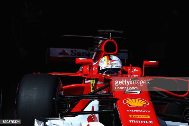 Sebastian Vettel of Germany driving the Scuderia Ferrari SF70H leaves the pits during day three of Formula One winter testing at Circuit de Catalunya...