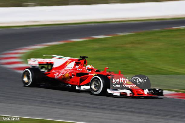 Sebastian Vettel of Germany driving the Scuderia Ferrari SF70H on track during day one of Formula One winter testing at Circuit de Catalunya on March...