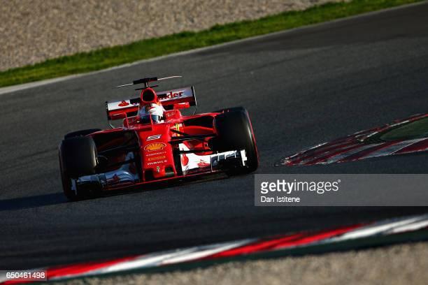Sebastian Vettel of Germany driving the Scuderia Ferrari SF70H on track during day three of Formula One winter testing at Circuit de Catalunya on...