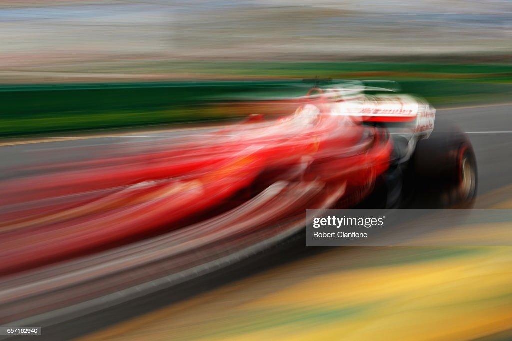 Sebastian Vettel of Germany driving the (5) Scuderia Ferrari SF70H on track during practice for the Australian Formula One Grand Prix at Albert Park on March 24, 2017 in Melbourne, Australia.