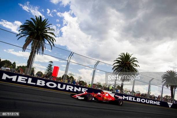 Sebastian Vettel of Germany driving the Scuderia Ferrari SF70H on track during final practice for the Australian Formula One Grand Prix at Albert...