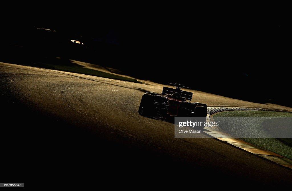 Sebastian Vettel of Germany driving the (5) Scuderia Ferrari SF70H on track during the Australian Formula One Grand Prix at Albert Park on March 26, 2017 in Melbourne, Australia.