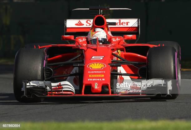 Sebastian Vettel of Germany driving the Scuderia Ferrari SF70H on track during the Australian Formula One Grand Prix at Albert Park on March 26 2017...