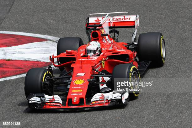 Sebastian Vettel of Germany driving the Scuderia Ferrari SF70H on track during final practice for the Formula One Grand Prix of China at Shanghai...
