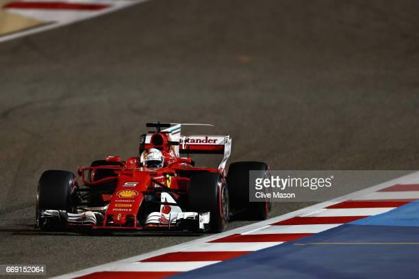 Sebastian Vettel of Germany driving the Scuderia Ferrari SF70H on track during the Bahrain Formula One Grand Prix at Bahrain International Circuit on...