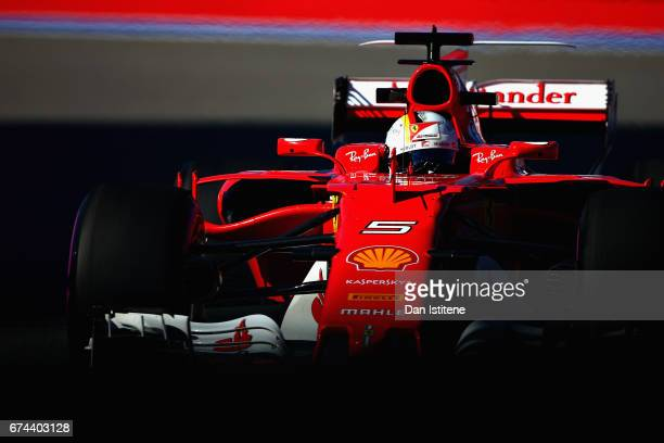Sebastian Vettel of Germany driving the Scuderia Ferrari SF70H on track during practice for the Formula One Grand Prix of Russia on April 28 2017 in...