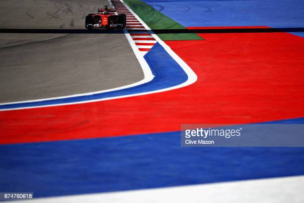 Sebastian Vettel of Germany driving the Scuderia Ferrari SF70H on track during qualifying for the Formula One Grand Prix of Russia on April 29, 2017...