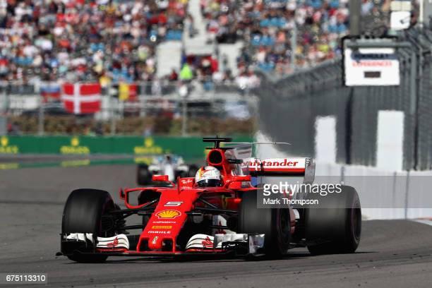 Sebastian Vettel of Germany driving the Scuderia Ferrari SF70H on track during the Formula One Grand Prix of Russia on April 30 2017 in Sochi Russia