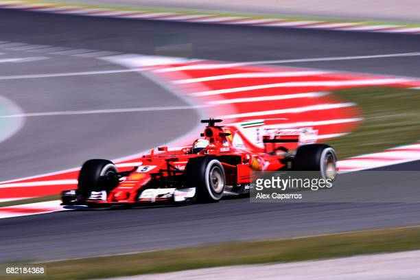 Sebastian Vettel of Germany driving the Scuderia Ferrari SF70H on track during practice for the Spanish Formula One Grand Prix at Circuit de...