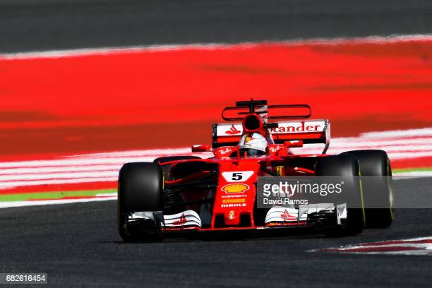 Sebastian Vettel of Germany driving the Scuderia Ferrari SF70H on track during qualifying for the Spanish Formula One Grand Prix at Circuit de...