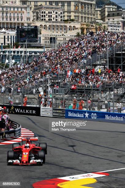 Sebastian Vettel of Germany driving the Scuderia Ferrari SF70H on track during qualifying for the Monaco Formula One Grand Prix at Circuit de Monaco...