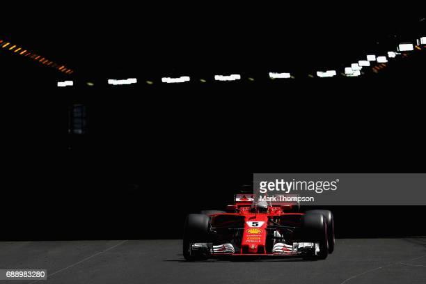 Sebastian Vettel of Germany driving the Scuderia Ferrari SF70H on track during final practice for the Monaco Formula One Grand Prix at Circuit de...