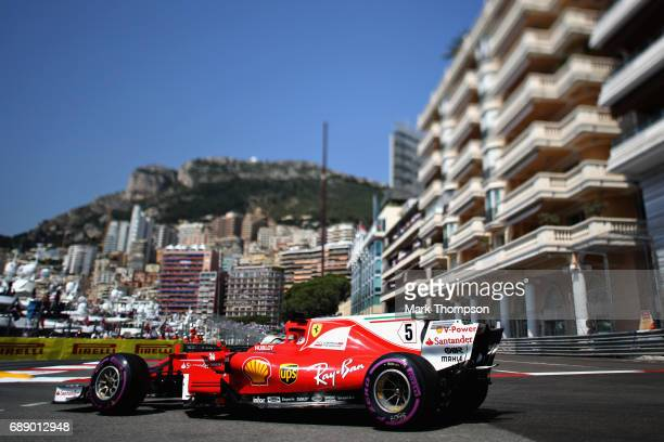 Sebastian Vettel of Germany driving the Scuderia Ferrari SF70H on track during final practice for the Monaco Formula One Grand Prix at Circuit de...