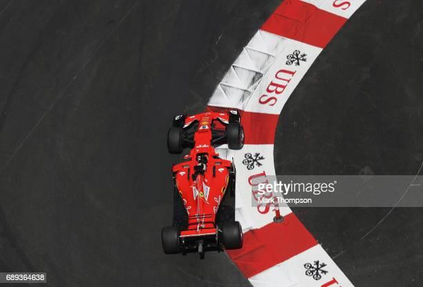 Sebastian Vettel of Germany driving the Scuderia Ferrari SF70H on track during the Monaco Formula One Grand Prix at Circuit de Monaco on May 28 2017...