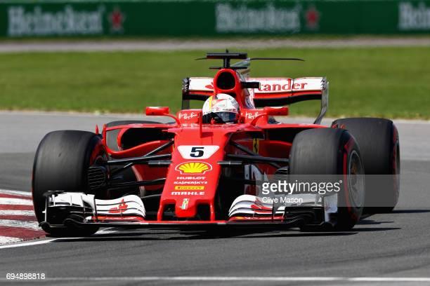 Sebastian Vettel of Germany driving the Scuderia Ferrari SF70H on track during the Canadian Formula One Grand Prix at Circuit Gilles Villeneuve on...