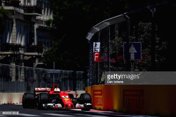 Sebastian Vettel of Germany driving the Scuderia Ferrari SF70H on track during practice for the European Formula One Grand Prix at Baku City Circuit...