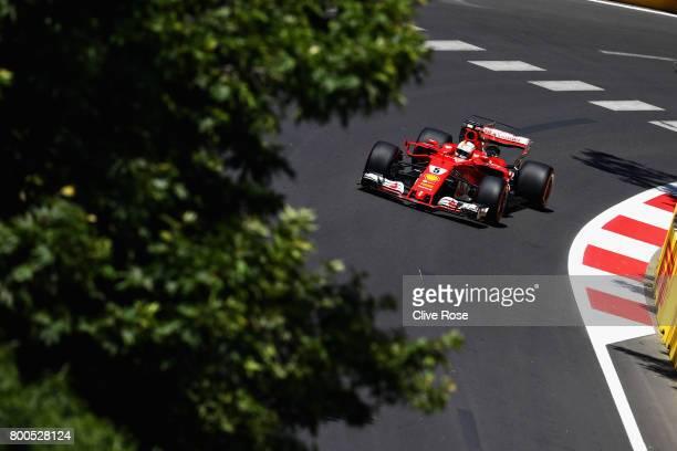 Sebastian Vettel of Germany driving the Scuderia Ferrari SF70H on track during final practice for the Azerbaijan Formula One Grand Prix at Baku City...