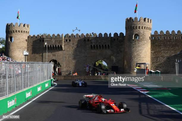 Sebastian Vettel of Germany driving the Scuderia Ferrari SF70H on track during the Azerbaijan Formula One Grand Prix at Baku City Circuit on June 25...