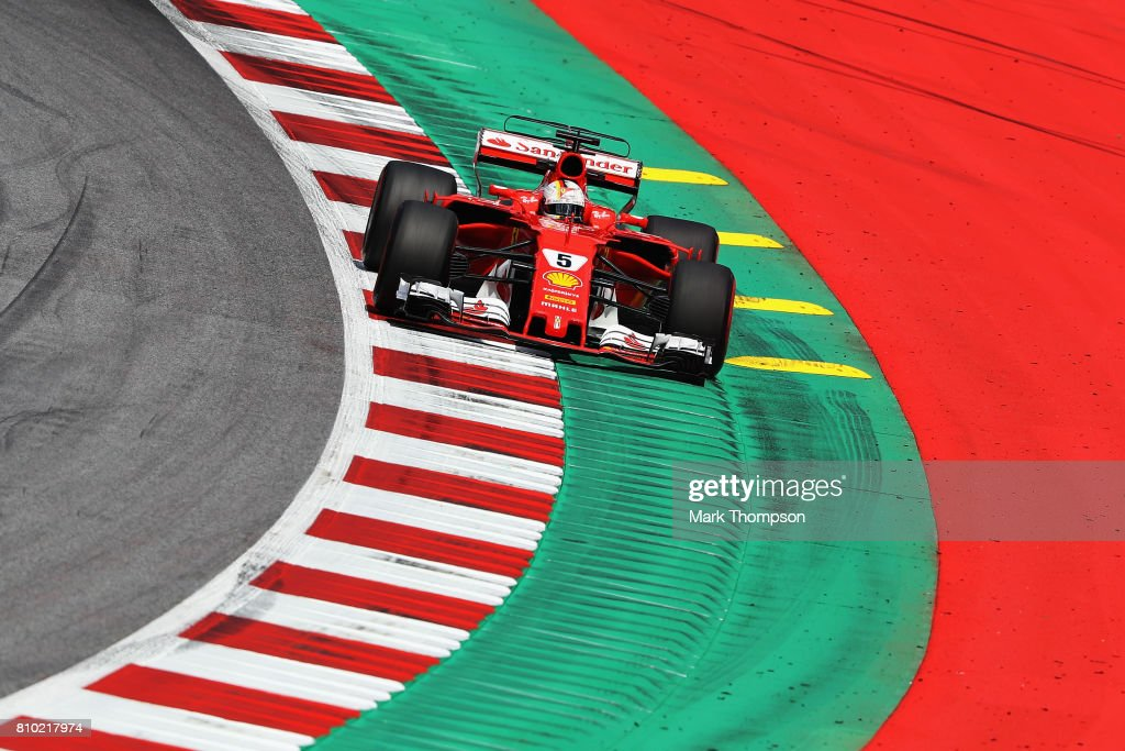 Sebastian Vettel of Germany driving the (5) Scuderia Ferrari SF70H on track during practice for the Formula One Grand Prix of Austria at Red Bull Ring on July 7, 2017 in Spielberg, Austria.