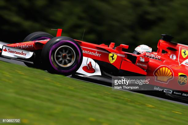 Sebastian Vettel of Germany driving the Scuderia Ferrari SF70H on track during final practice for the Formula One Grand Prix of Austria at Red Bull...