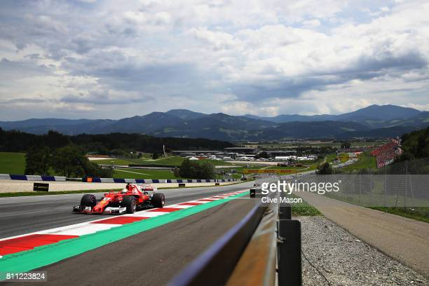 Sebastian Vettel of Germany driving the Scuderia Ferrari SF70H on track during the Formula One Grand Prix of Austria at Red Bull Ring on July 9 2017...