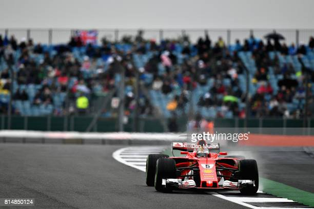 Sebastian Vettel of Germany driving the Scuderia Ferrari SF70H on track during qualifying for the Formula One Grand Prix of Great Britain at...