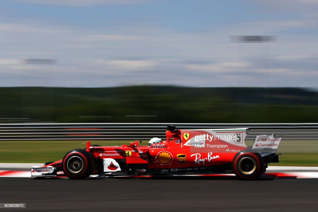 Sebastian Vettel of Germany driving the (5) Scuderia Ferrari SF70H on track during practice for the Formula One Grand Prix of Hungary at Hungaroring on July 28, 2017 in Budapest, Hungary.