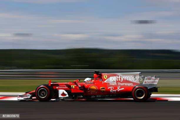 Sebastian Vettel of Germany driving the Scuderia Ferrari SF70H on track during practice for the Formula One Grand Prix of Hungary at Hungaroring on...