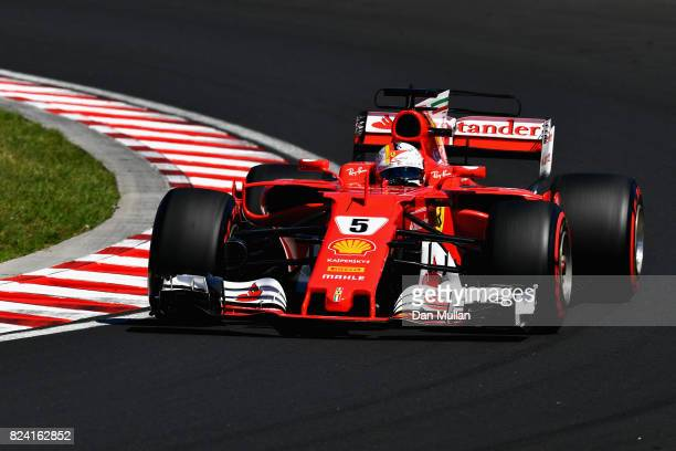Sebastian Vettel of Germany driving the Scuderia Ferrari SF70H on track during final practice for the Formula One Grand Prix of Hungary at...