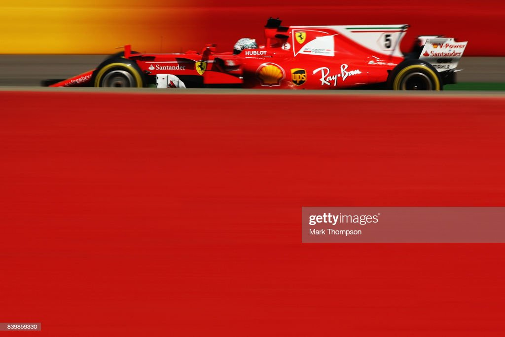 Sebastian Vettel of Germany driving the (5) Scuderia Ferrari SF70H on track during the Formula One Grand Prix of Belgium at Circuit de Spa-Francorchamps on August 27, 2017 in Spa, Belgium.