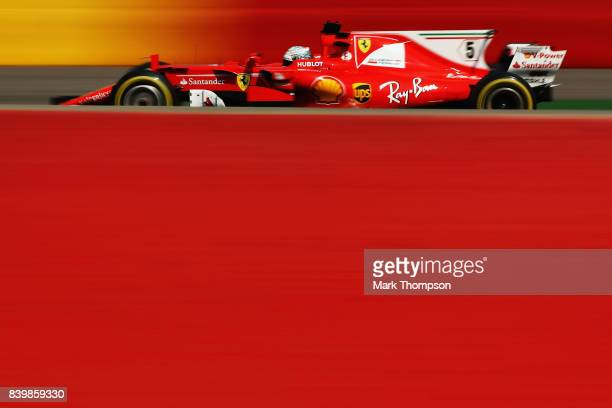 Sebastian Vettel of Germany driving the Scuderia Ferrari SF70H on track during the Formula One Grand Prix of Belgium at Circuit de SpaFrancorchamps...