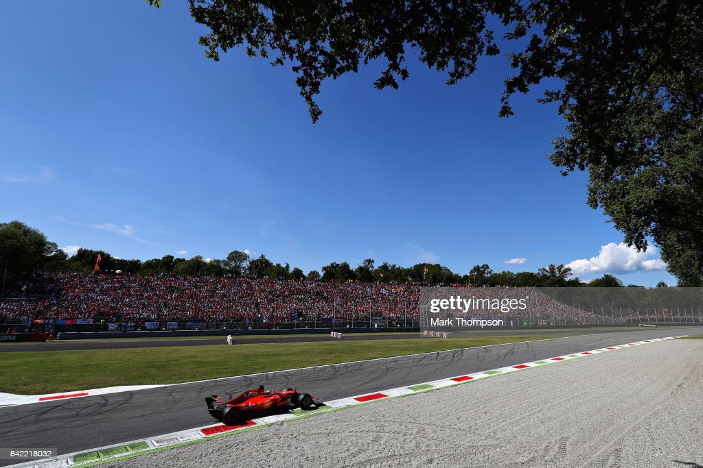 Sebastian Vettel of Germany driving the (5) Scuderia Ferrari SF70H on track during the Formula One Grand Prix of Italy at Autodromo di Monza on September 3, 2017 in Monza, Italy.