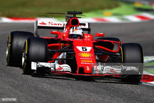 Sebastian Vettel of Germany driving the Scuderia Ferrari SF70H on track during the Formula One Grand Prix of Italy at Autodromo di Monza on September...