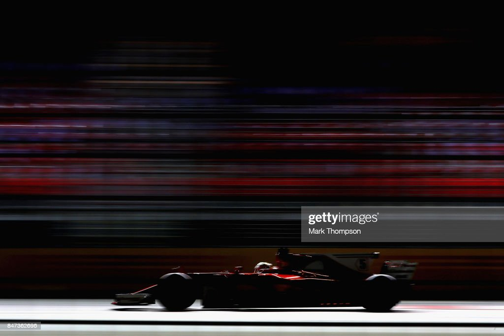 Sebastian Vettel of Germany driving the (5) Scuderia Ferrari SF70H on track during practice for the Formula One Grand Prix of Singapore at Marina Bay Street Circuit on September 15, 2017 in Singapore.