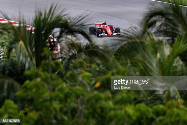 Sebastian Vettel of Germany driving the Scuderia Ferrari SF70H on track during practice for the Malaysia Formula One Grand Prix at Sepang Circuit on...