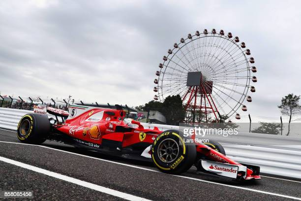 Sebastian Vettel of Germany driving the Scuderia Ferrari SF70H on track during practice for the Formula One Grand Prix of Japan at Suzuka Circuit on...