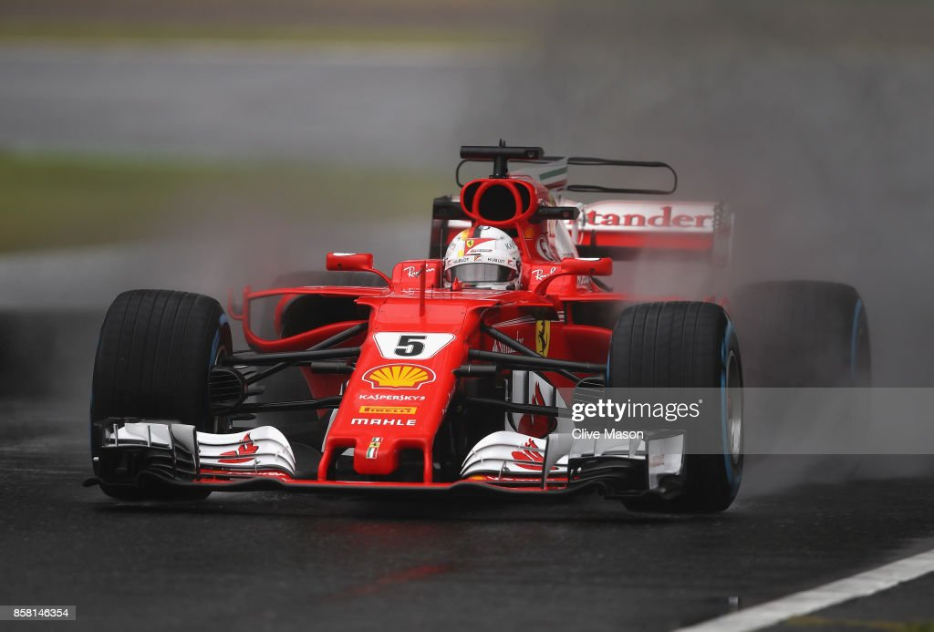 Sebastian Vettel of Germany driving the (5) Scuderia Ferrari SF70H on track during practice for the Formula One Grand Prix of Japan at Suzuka Circuit on October 6, 2017 in Suzuka.