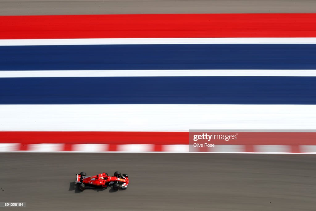 Sebastian Vettel of Germany driving the (5) Scuderia Ferrari SF70H on track during practice for the United States Formula One Grand Prix at Circuit of The Americas on October 20, 2017 in Austin, Texas.