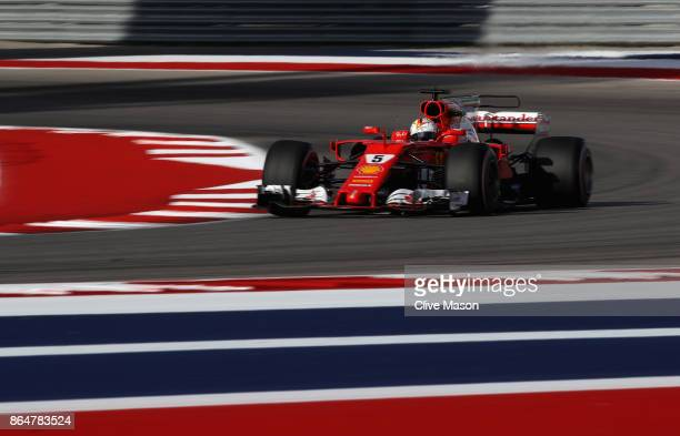 Sebastian Vettel of Germany driving the Scuderia Ferrari SF70H on track during qualifying for the United States Formula One Grand Prix at Circuit of...
