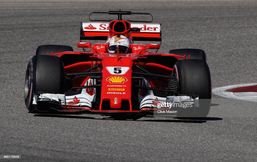 Sebastian Vettel of Germany driving the (5) Scuderia Ferrari SF70H on track during the United States Formula One Grand Prix at Circuit of The Americas on October 22, 2017 in Austin, Texas.